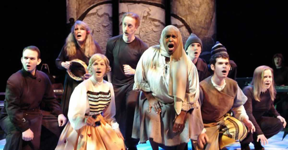 "The cast of the ""Snow Queen"" singing"