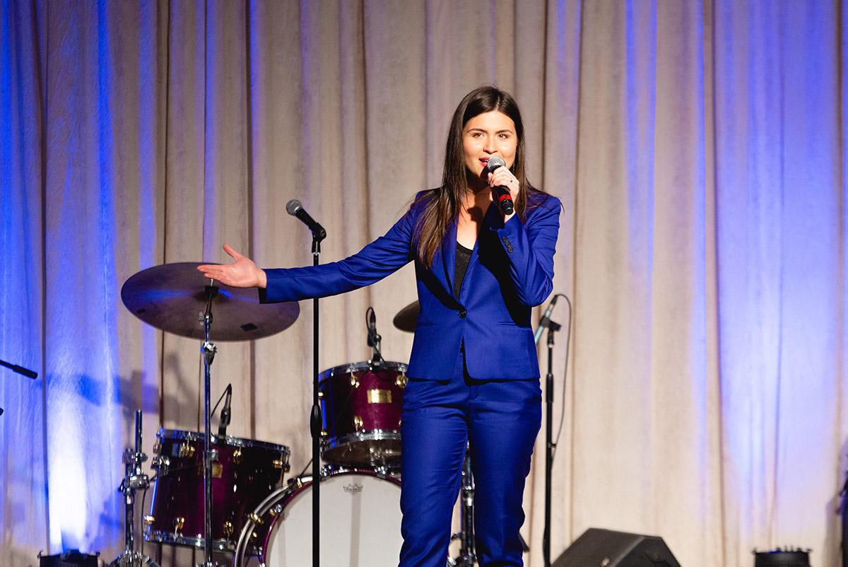 Philippa Soo on stage singing