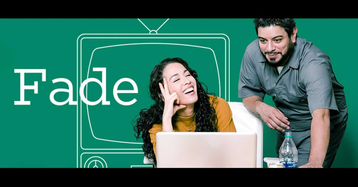 "Woman with a computer smiling and laughing at a man. Text reads, ""Fade"""