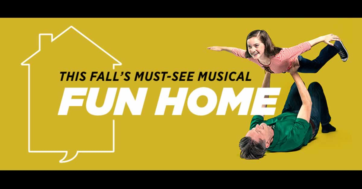 "A young girl and her father playing airplane. Text reads, ""Fun Home: This Fall's Must-See Musical"""