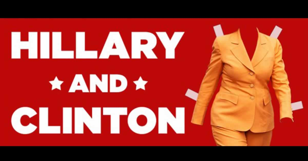 "A paper-doll cutout of a yellow woman's suite. Text reads, ""Hillary and Clinton"""